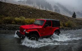 Picture wave, red, stream, rain, 2018, Jeep, Wrangler Rubicon