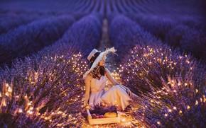 Picture field, girl, pose, hat, lights, lavender, Kristina Makeeva