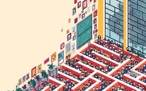 Picture Art, Style, Illustration, Michal Dean, Minimalism, People, Maze, by Michal Dean