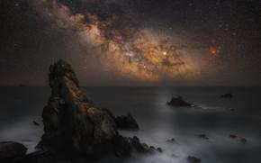 Picture sea, night, rocks, swezy