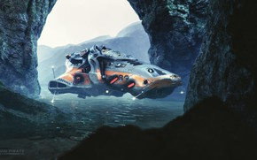 Picture water, rocks, transport, pond, Squid Pirate