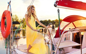 Picture style, hat, yacht, blonde, fashion