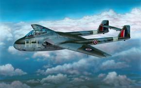 Picture art, airplane, aviation, jet, dehavilland vampire