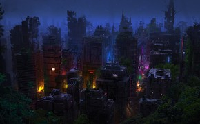 Picture Night, The city, Apocalypse, City, Plants, Night, Fiction, Dominique van Velsen, by Dominique van Velsen, …