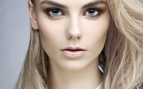 Picture girl, face, makeup, blonde, Mayer George