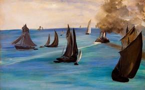 Picture sea, boats, sail, seascape