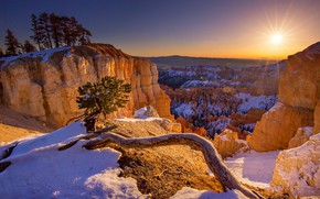 Picture sunset, Utah, USA, National Park Bryce Canyon