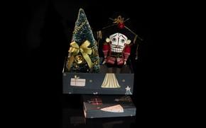 Picture holiday, box, toy, Christmas, New year, black background, herringbone, Christmas decorations, The Nutcracker, новогодние декорации