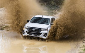 Picture white, water, squirt, dirt, Toyota, pickup, Hilux, Special Edition, 2019