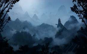 Picture Mountains, Fog, Rocks, Palace, Castle, View, Hills, Asia, Landscape, Art, jungle, Asia, by Aurélien Ronceray, …