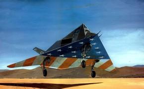 Picture war, art, painting, jet, Lockheed F-117 Nighthawk