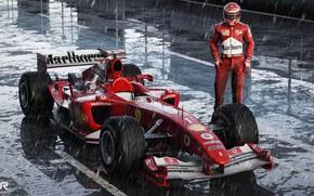 Picture Sport, Machine, Rain, Formula 1, The car, Schumacher, Michael Schumacher, Michael Schumacher, Rendering, Schumacher, The …