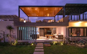 Picture design, house, the evening, lighting, architecture, facade, outside-inside house, интерьер-экстерьер