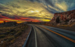 Picture road, sunset, mountains