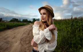 Picture nature, pose, model, portrait, jeans, hat, makeup, hairstyle, blouse, beauty, is, bokeh, in the field, …