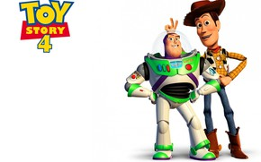 Picture animation, movie, toys, film, friends, white background, Toy Story, simple background, joke, Woody, Buzz Lightyear, ...
