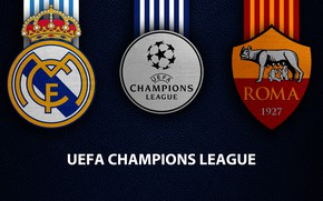 Picture wallpaper, sport, logo, football, Real Madrid, AS Roma, UEFA Champions League, Real Madrid vs AS …