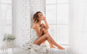 Picture flowers, pose, feet, model, window, glasses, on the windowsill, Anastasia Barmina, Angelica Marquis