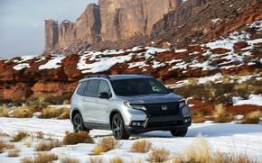 Picture snow, rocks, vegetation, Honda, 2019, Passport