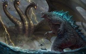 Picture The ocean, Sea, Dragon, Fantasy, Dragon, Godzilla, Art, Art, Lightning, Fiction, Rain, Godzilla, Illustration, Gull, …