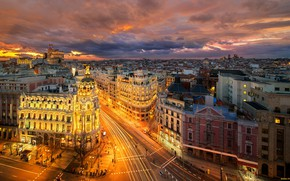 Wallpaper the city, lights, the evening, Europe, Spain, the view from the top, Europe, Spain, Madrid, ...