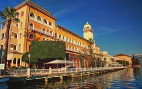 Picture water, lake, palm trees, the building, Italy, promenade, Italy, Lombardy, Lombardy, Lake Garda, Gardone Riviera, …