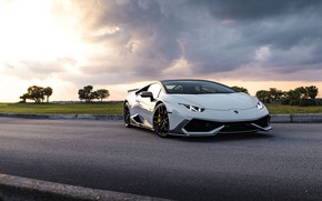 Picture Lamborghini, Clouds, Sunset, Evening, Silver, Performante, Huracan