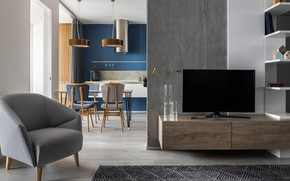 Picture design, style, interior, kitchen, living room, dining room, OSH Apartment, by Albert Bagdasaryan