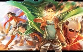 Picture anime, art, cloak, Shingeki no Kyojin, Eren, Eren Yeager, Attack of the titans, The invasion …