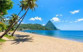 Picture beach, the ocean, beach, ocean, Caribbean, caribbean, saint-lucia