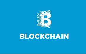Wallpaper blue, logo, fon, blockchain, blockchain