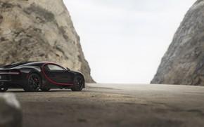 Picture Road, Rocks, Hypercar, Bugatti Chiron