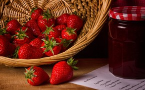 Picture berries, strawberry, Bank, basket, jam, strawberry, recipe, blank