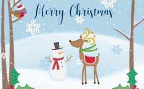 Picture winter, snow, holiday, graphics, deer, Christmas, New year, snowman, Christmas decorations, новогодние декорации