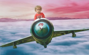 Picture the sky, flight, the plane, rendering, child, boy, baby, pilot