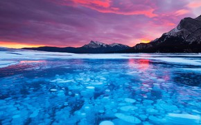 Picture clouds, ice, Canada, Albert, lake Abraham