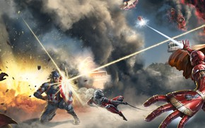 Picture art, captain america, iron man, Scarlet Witch, Ant-Man, Captain America: Civil War