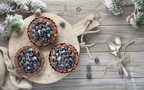 Picture blueberries, cream, dessert, spoon, pies, cutting Board