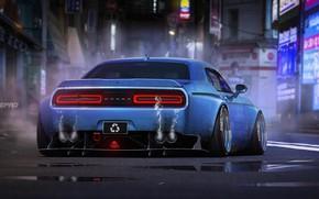 Picture Auto, Blue, Machine, Dodge, Challenger, Dodge Challenger, Rendering, Dmitry Strukov, Dizepro, by Dmitry Strukov