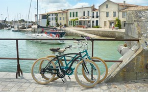 Picture summer, the city, France, Marina, yachts, promenade, bikes, Saint-Martin-de-Re, Сен-Мартен-де-Ре, Beach Cruiser