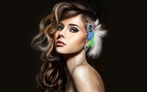 Wallpaper look, decoration, figure, portrait, feathers, makeup, art, hairstyle, brown hair, beauty, black background