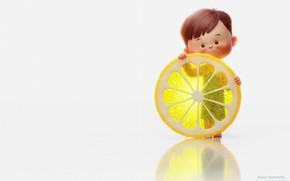 Wallpaper rendering, mood, lemon, boy, art, children's, Nazar Noschenko, Lemon boy