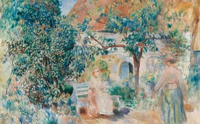 Picture landscape, house, picture, yard, bench, 1886, Pierre Auguste Renoir, Pierre Auguste Renoir, In the garden …