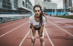 Picture look, girl, pose, sport, shorts, makeup, Mike, figure, brunette, hairstyle, track, is, beautiful, stadium, bokeh, …