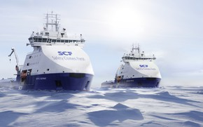 Picture Winter, Ice, Court, The ship, Arctic, Rendering, Vessel, SCF, Offshore, Offshore Supply Ship, Supply Ship, …