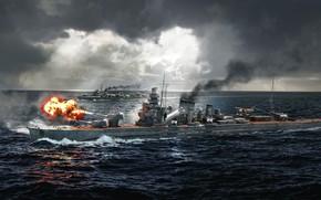 Picture The ocean, Sea, Ship, Ships, Cruiser, Ocean, Sea, Sea battle, Cruiser, Destroyer, Ship, World of …