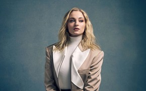 Picture look, girl, portrait, jacket, Sophie Turner