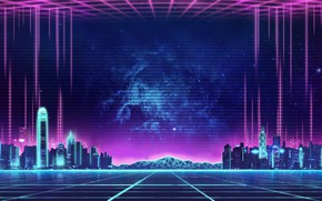Picture Music, The city, Background, City, 80s, Neon, 80's, Synth, Retrowave, Synthwave, New Retro Wave, Futuresynth, …