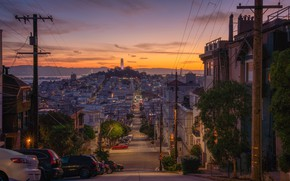 Picture road, the sky, trees, landscape, sunset, machine, lights, home, the evening, Bay, USA, California, San …