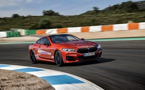 Picture coupe, track, BMW, Coupe, 2018, the curb, 8-Series, dark orange, M850i xDrive, Eight, G15